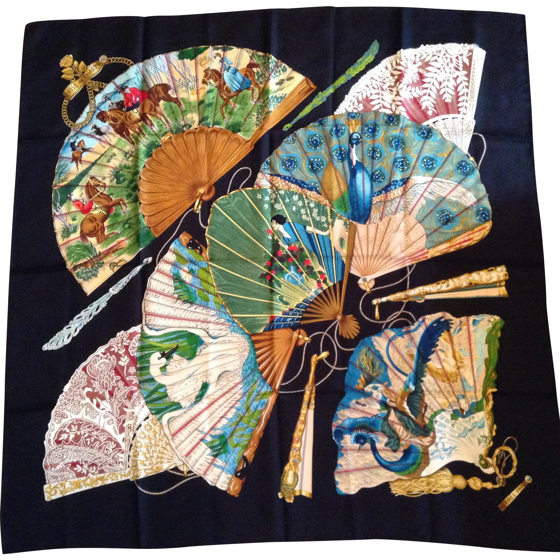 "Vintage Hermes Silk Scarf - ""Brise de Charme"" - Charming Breeze, 1990 design by Julia Abadie"
