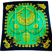 "Vintage Hermes Silk Scarf ""LesCavaliers D'Or, ""The Golden Riders"", 1975 by Vladimir Rybaltchenko"