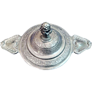 Vintage French Pewter Covered Ecuelle for Porridge, Paris, CA.1930's