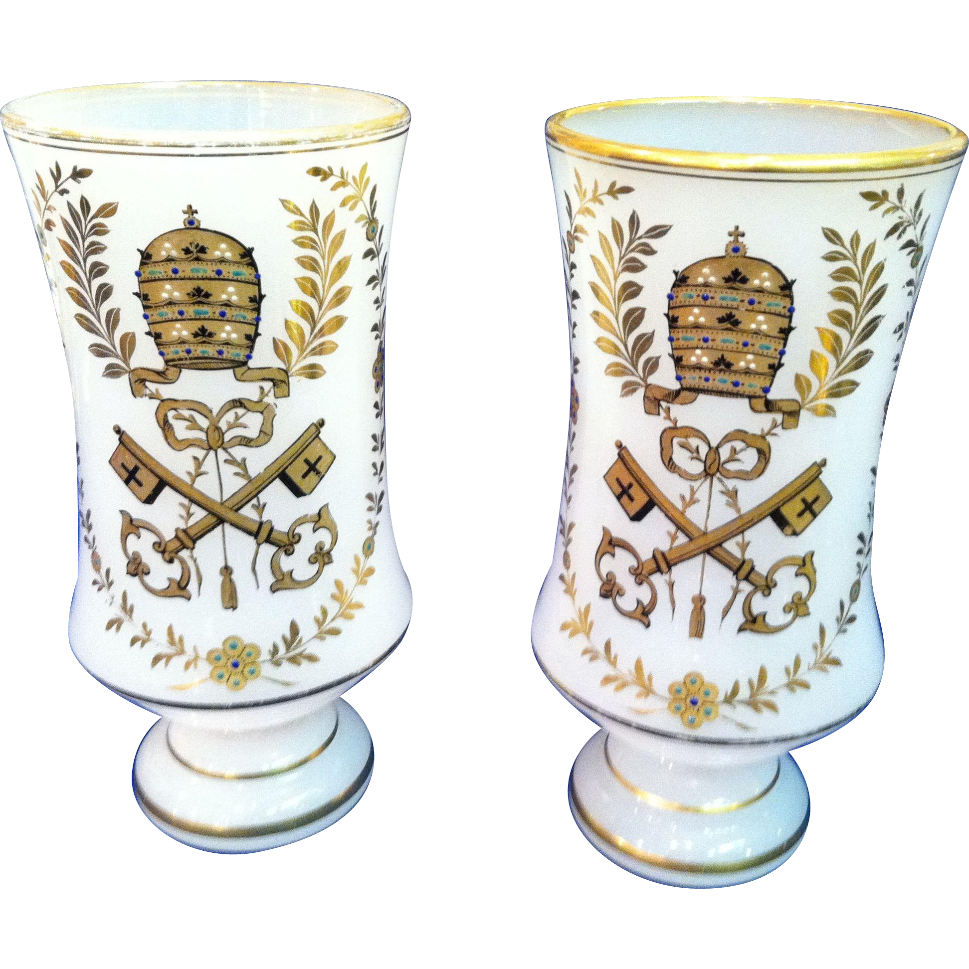Pair of French Opaline Vases, Decor of Papal State Coat of Arms, CA.1850