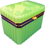 A Rare French Jade Opaline Jewel Casket or Box, CA.1900