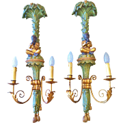 Blackamoor Wall Sconces, Pair in Carved Wood, Vintage 1920-40's