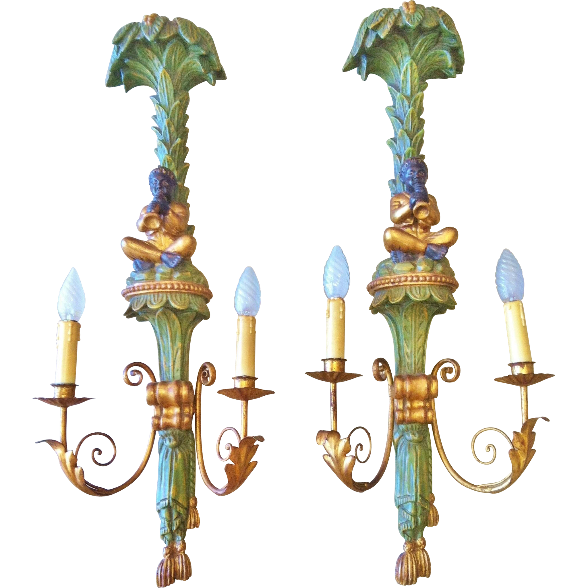 Blackamoor Wall Sconces : Blackamoor Wall Sconces, Pair in Carved Wood, Vintage 1920-40 s from collectorsdelights on Ruby Lane