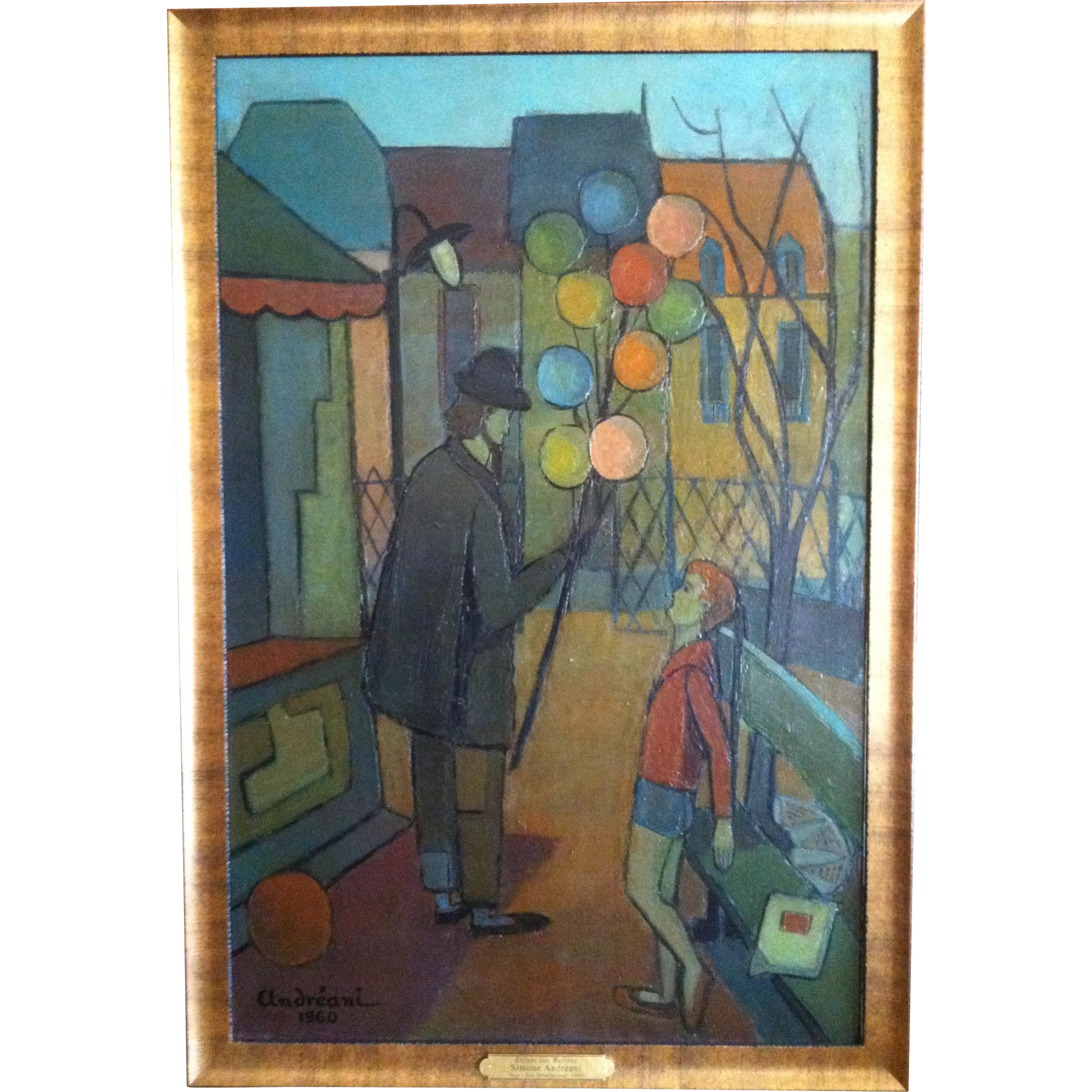 """Modernist Painting, French """"Enfant Aux Ballons"""", signed """"Simone Andreani"""", 1960"""