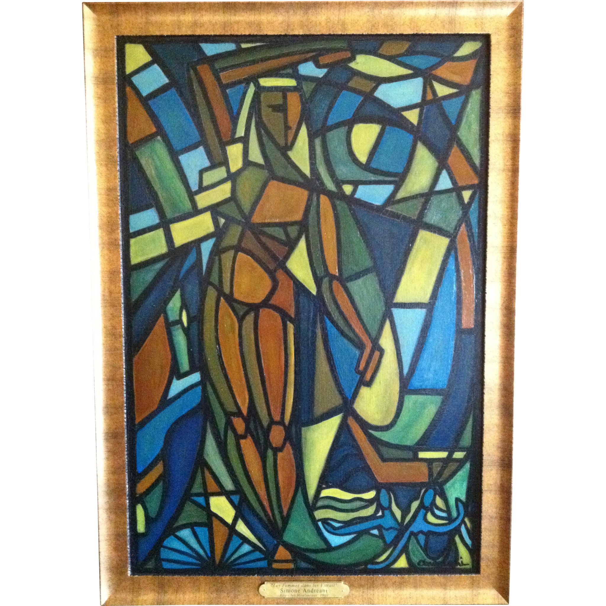 "Modernist Painting,French ""Les Femmes des Les Vitrail"", Simone Andreani, 1960's"