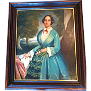 "Portrait-American, ""Woman in Blue Dress"", 19th Century"