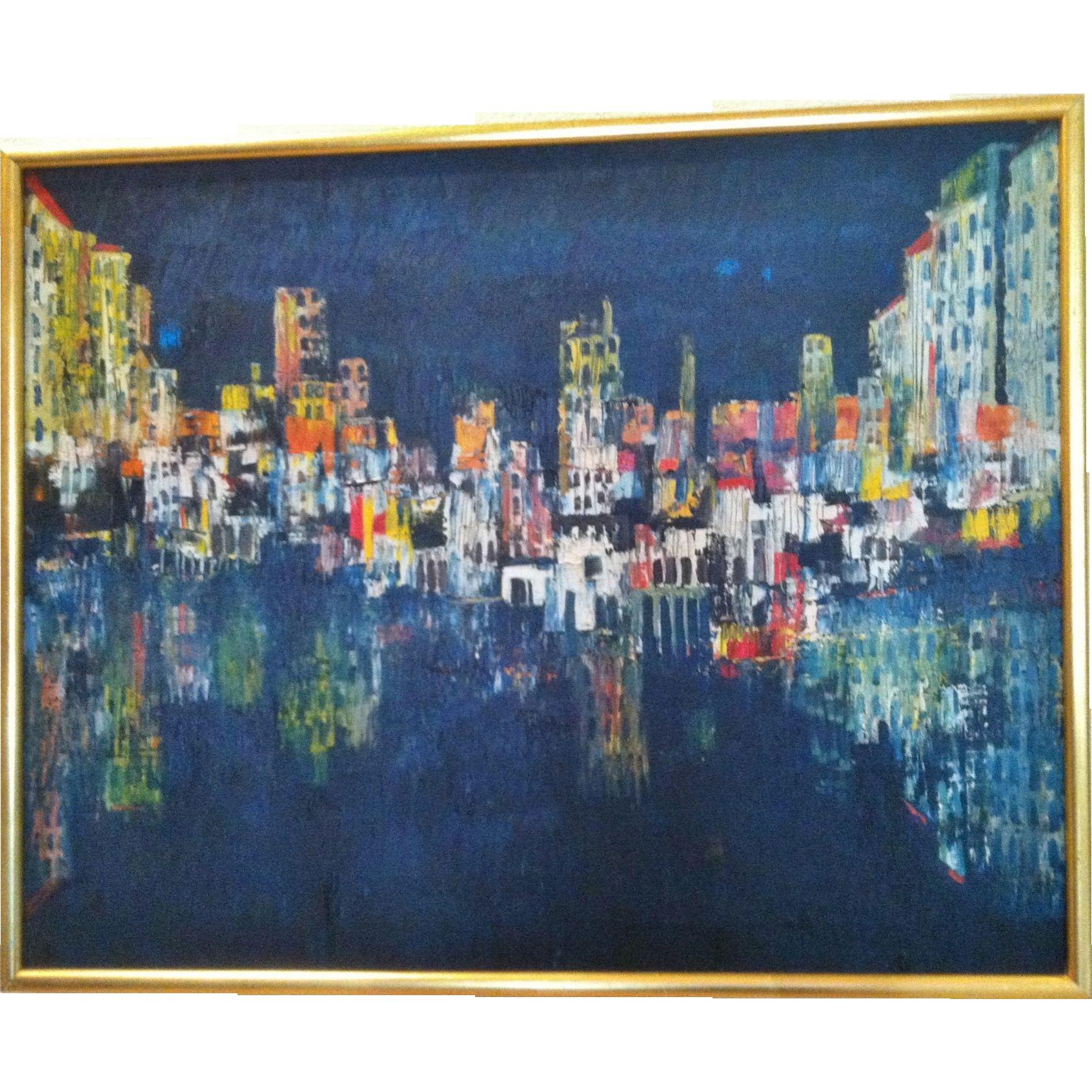 "Modernist Painting,""Mediterranean Harbor,Ladislas Kardos, 1966"