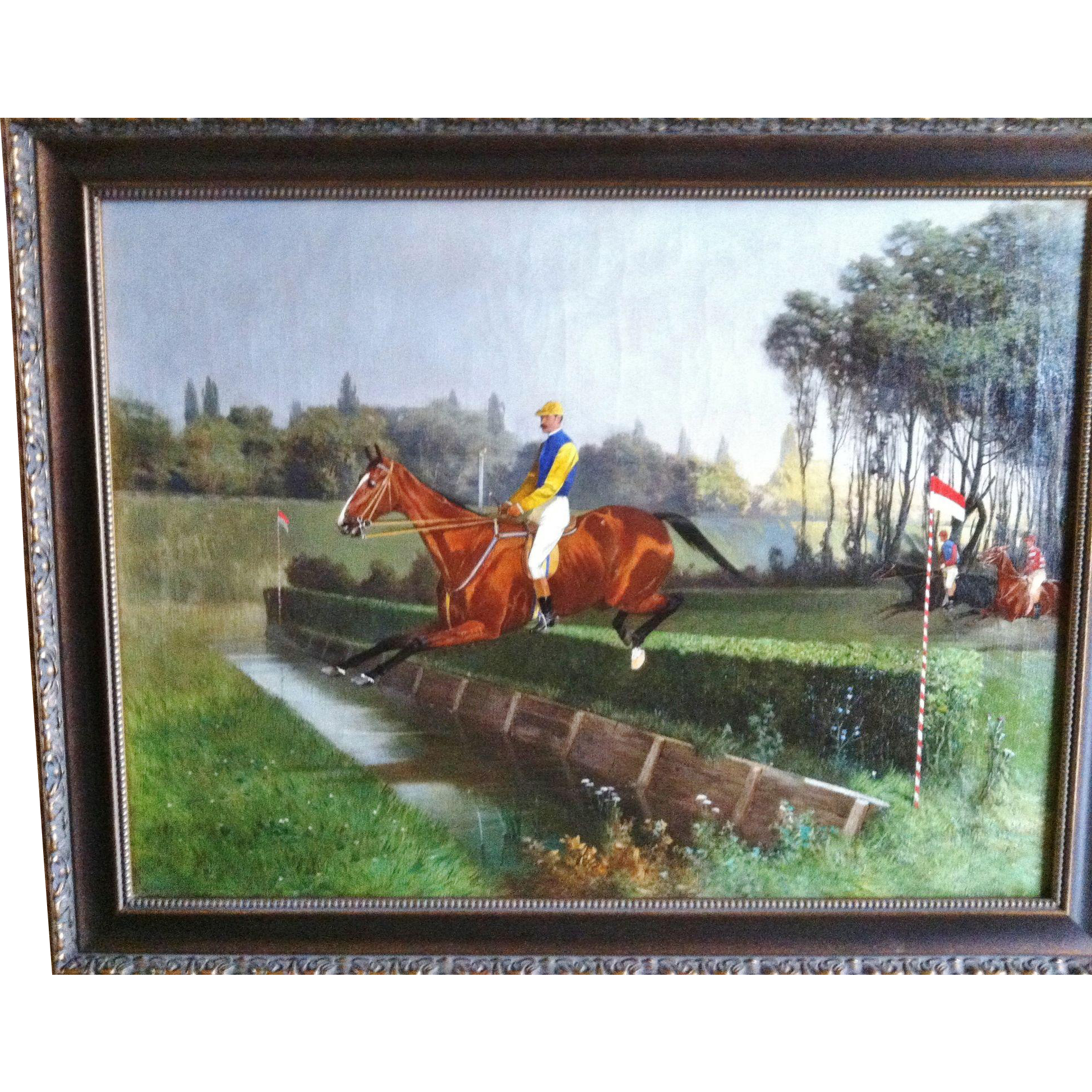 """Steeplechase"", Oil on Canvas, 19th Century"