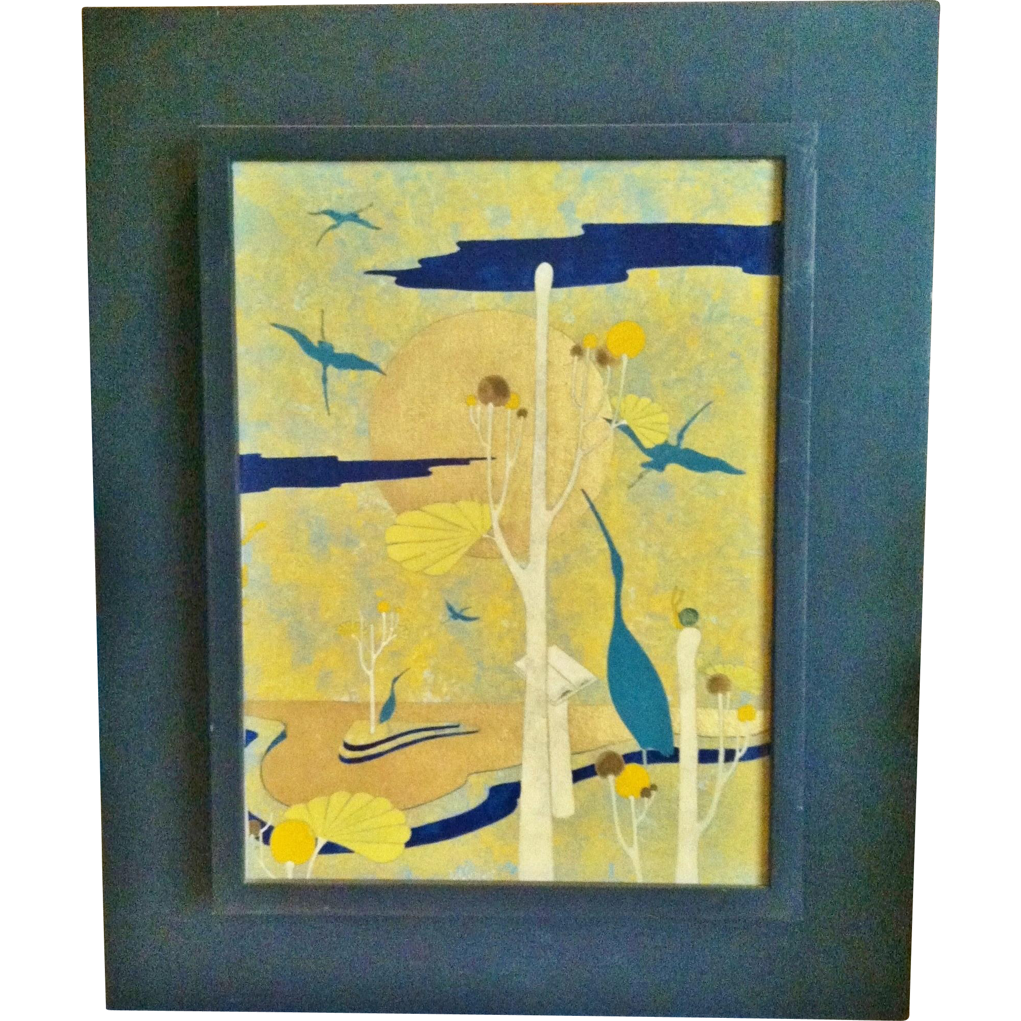 "Surrealist Oil on Canvas, ""Garden of Cranes"", Franco Lazzari, Italian CA.1990's"