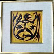 Jean Lurcat Modernist Tile, Dancing Woman with Stars, Original Frame