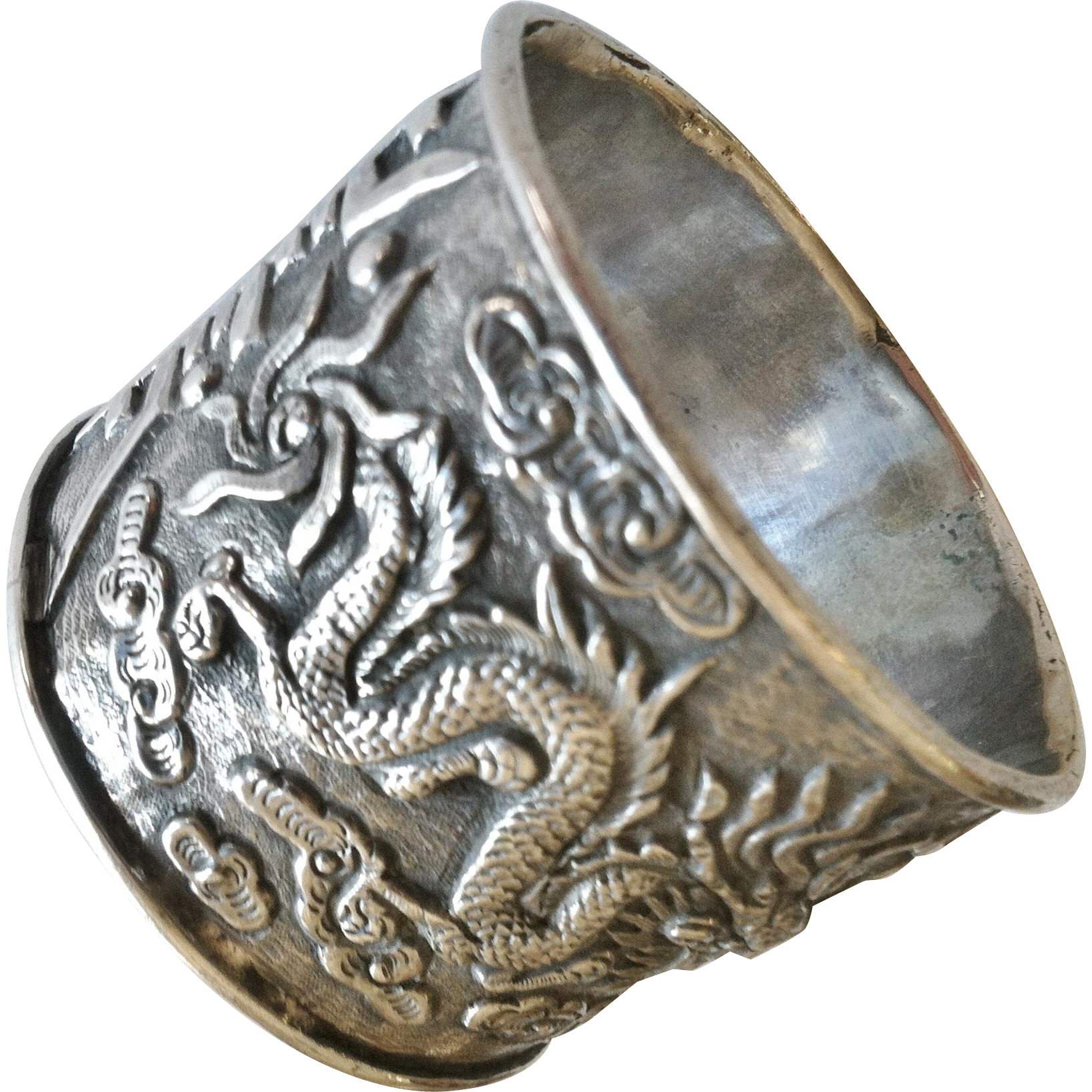 Chinese Dragon Napkin Ring in Silver, 19th Century