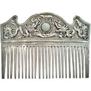 Exotic Chinese Silver Hair Ornament, Jade Cabochon,19th Century