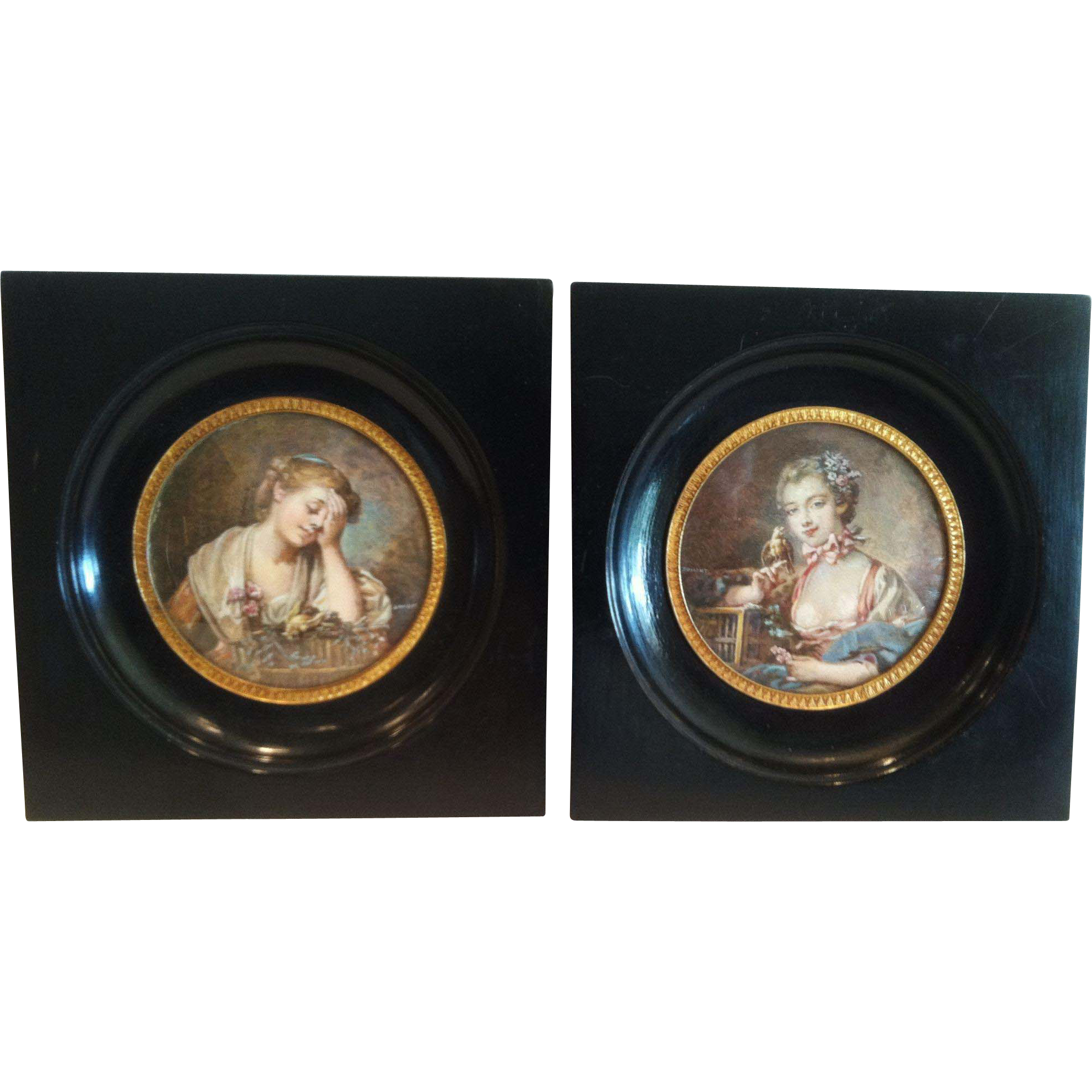 Miniature Paintings,French, 19th Century