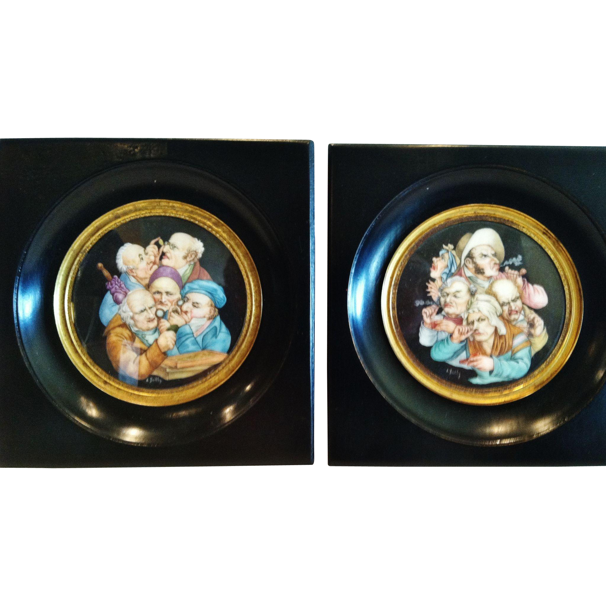 Pair of Miniature Paintings, Boilly Early 19th Century