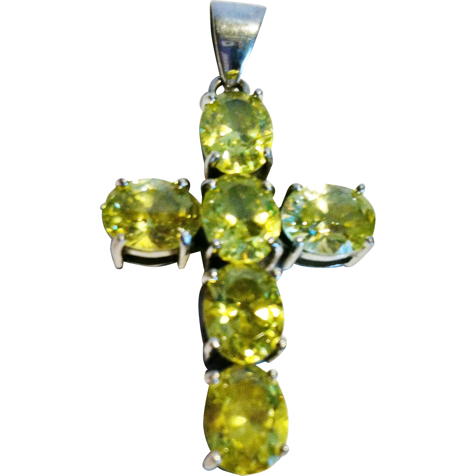 Vintage Peridot &  Sterling Cross