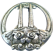 Rare Grotesque Viking Brooch,Karl Rasmussen, CA.1900