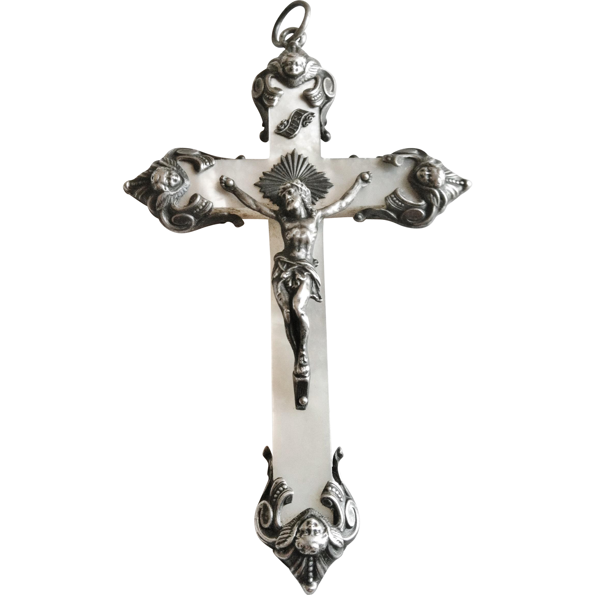 Antique French Silver Cross, Mother of Pearl, CA.1880