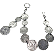 Antique Watch Fob Chain, Italian Coins, CA.1860's
