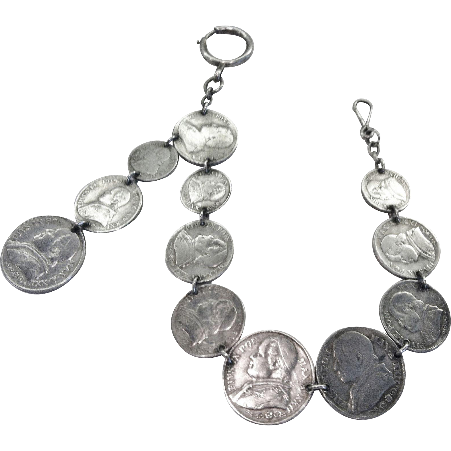 Antique Watch Fob Chain, Italian Coins, CA.1860's