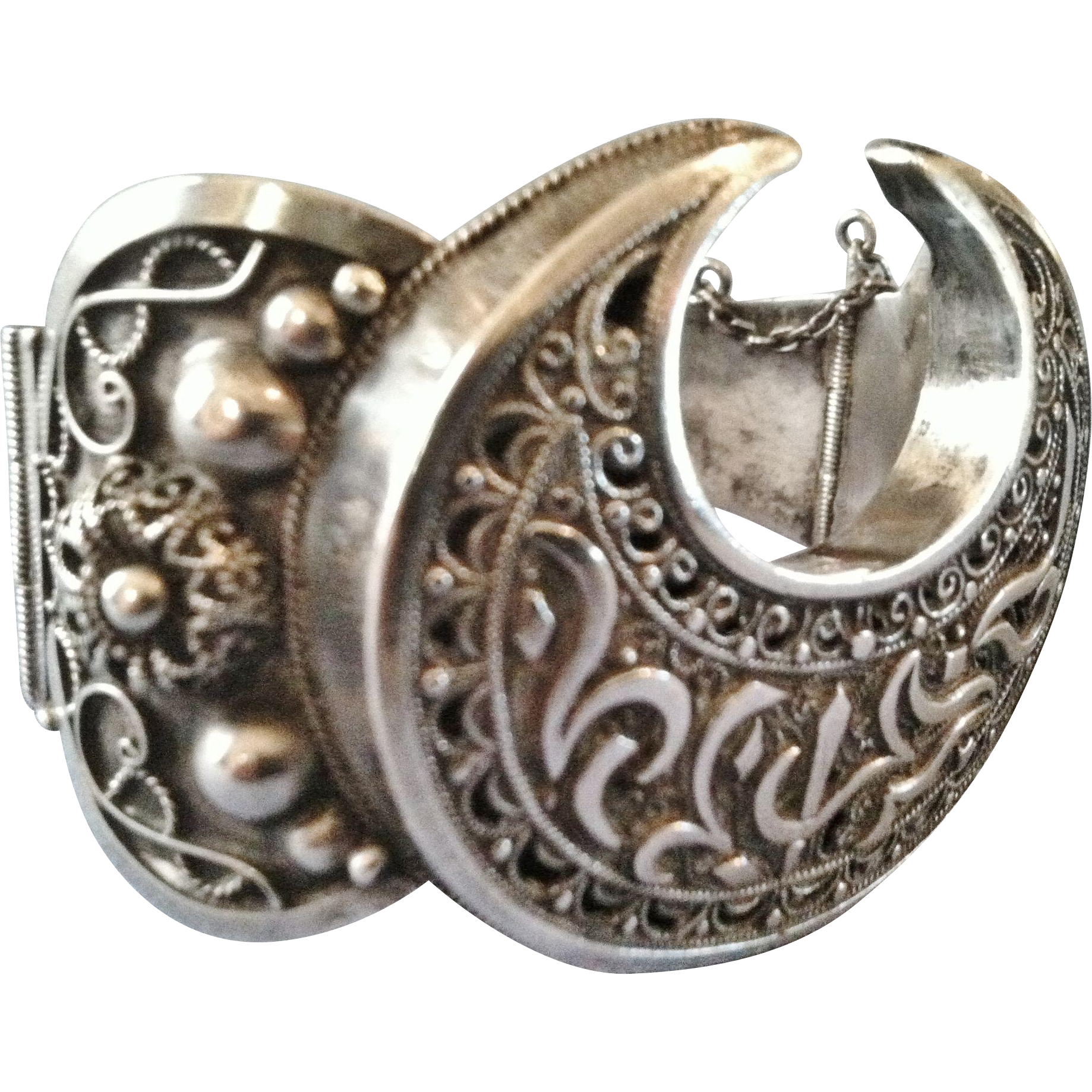 Silver Moroccan or Algerian Bracelet, Filigree Work, Crescent Moon,CA.1920's, French Colonial