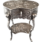 Miniature French Silver Sewing Stand, CA.1890