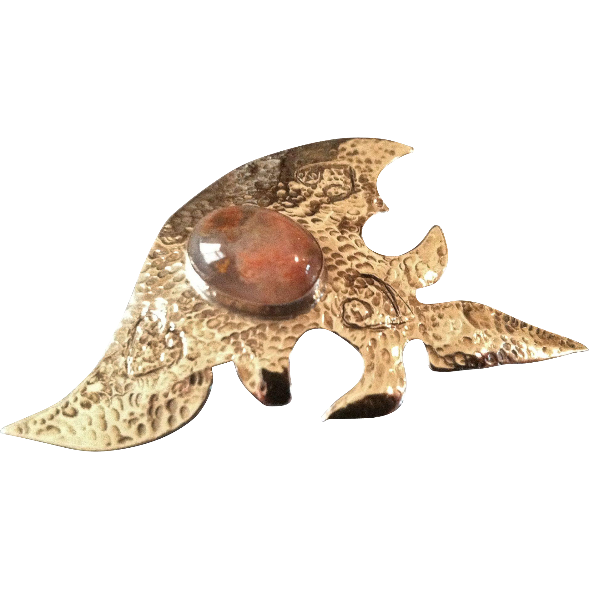 Sterling & Agate Brooch/Pin, CA.1970's