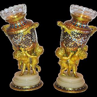 """Pair of Champleve Enamel & Ormolu Vases, """"Sevin"""" for Barbedienne, Paris 1879"""