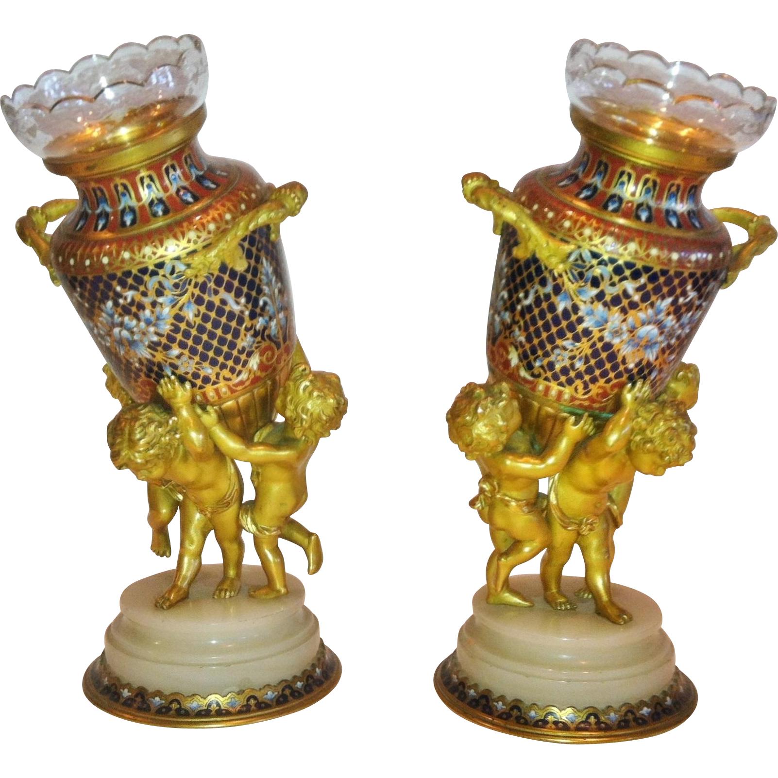 "Pair of Champleve Enamel & Ormolu Vases, ""Sevin"" for Barbedienne, Paris 1879"