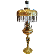 French Louis XV Style Jewelled  Oil Lamp, 19th Century