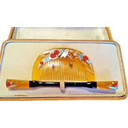 Japanese Hair Ornament Set, Inlaid Bakelite, CA.1920's Vintage