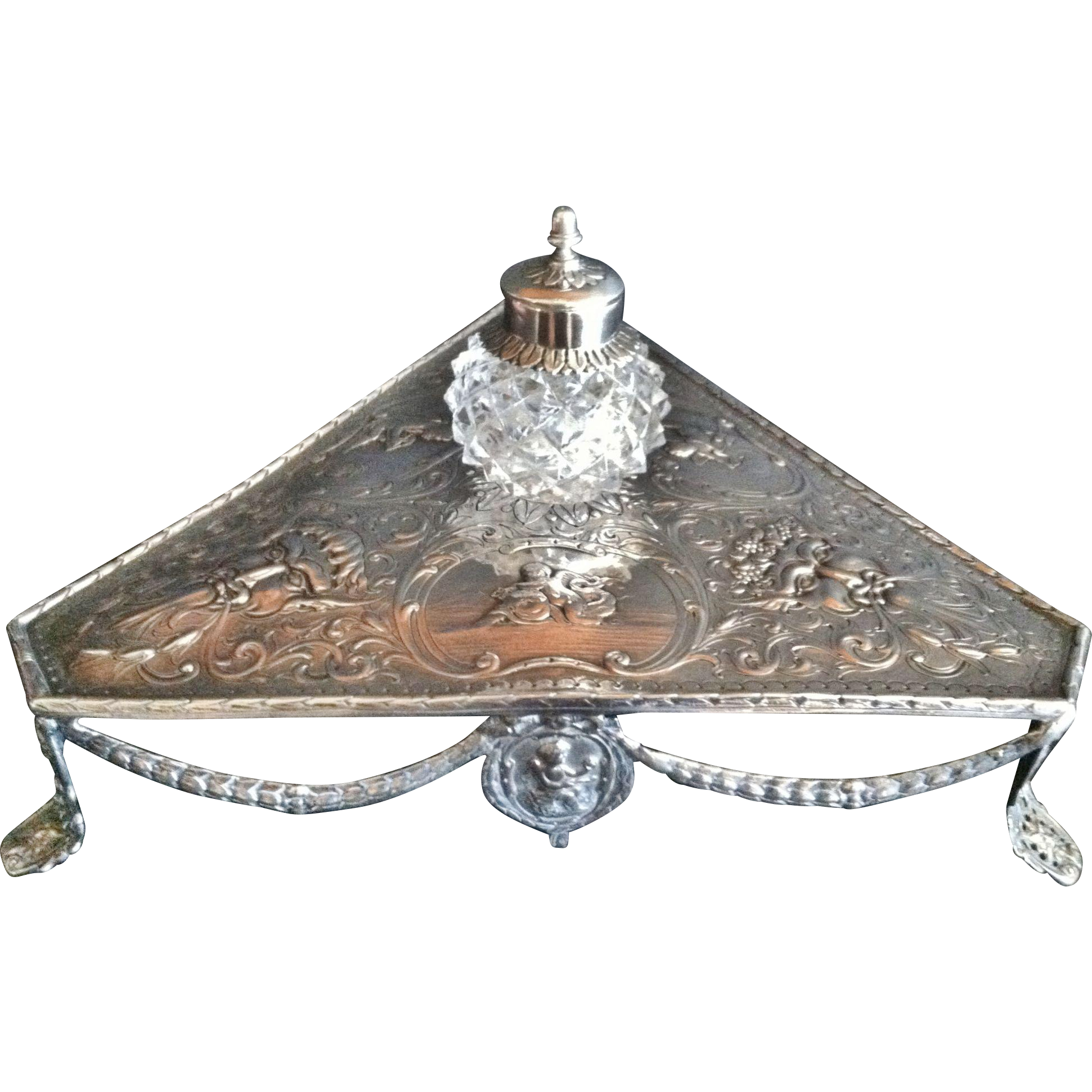 Sterling Inkwell Stand, English1817 Hallmarks