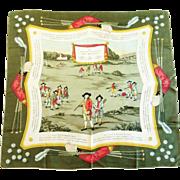 """Rare Hermes Silk Scarf, """"Jeu de Golf"""", 1953 Design"""