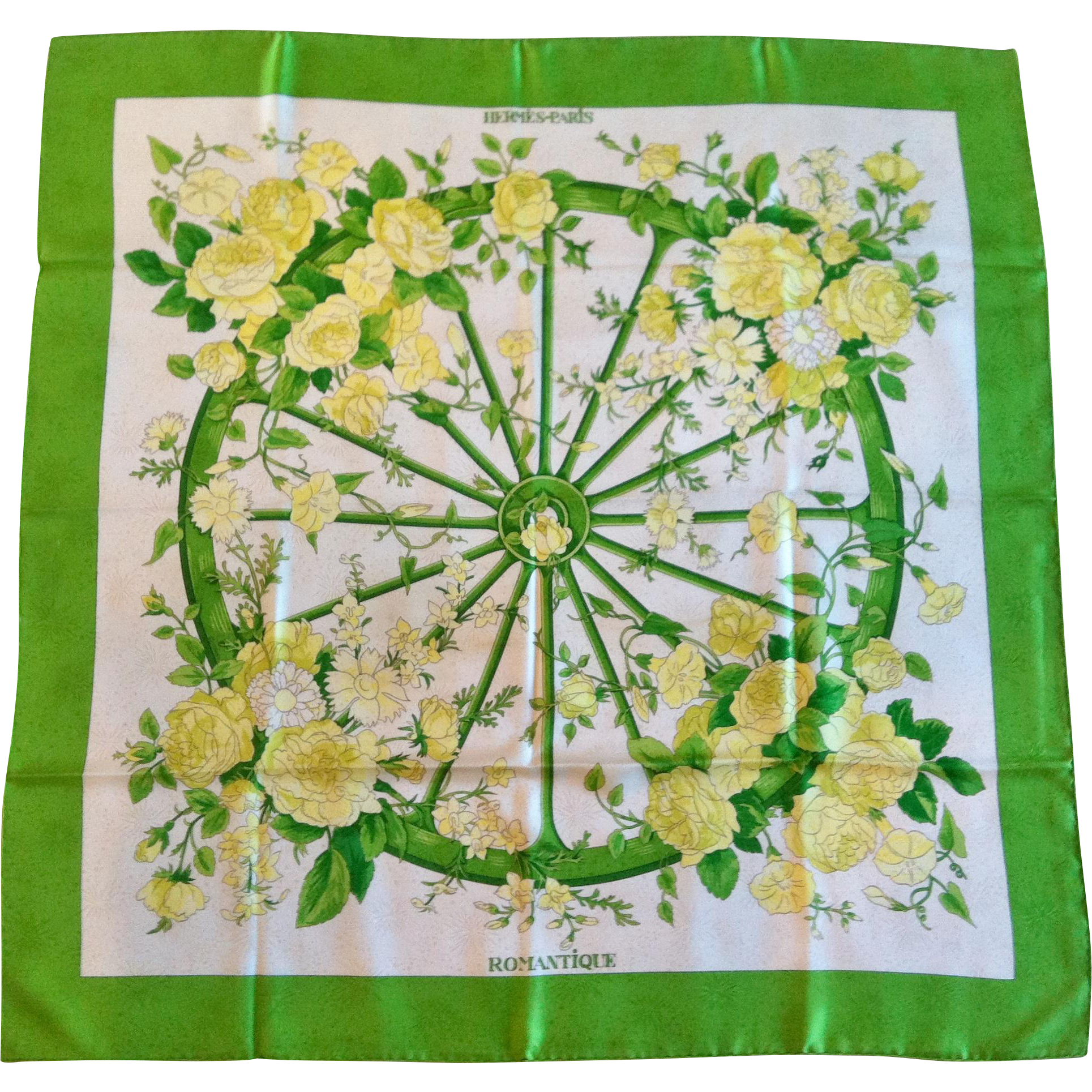 """Hermes Silk Scarf, titled """"Romantique"""", Maurice Tranchant 1973"""