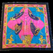 """Hermes Silk Scarf, """"Bissone de Venise, Annie Faivre 1988"""