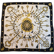 "Hermes Silk Scarf, ""Les Cles"" (The Keys), Caty Latham, 1965"