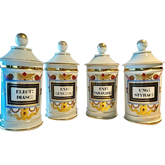Antique French Porcelain Pharmacy/Apothecary Jars, 19th Century
