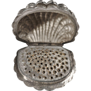 Sterling Nutmeg Grater, Figural Shell Shape,Birmingham England Hallmark, 19th Century