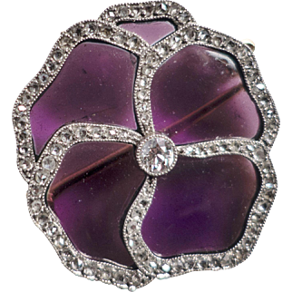 """Antique Cartier Brooch, a """"Pansy"""", 18kt Gold, Diamonds, CA.1910"""