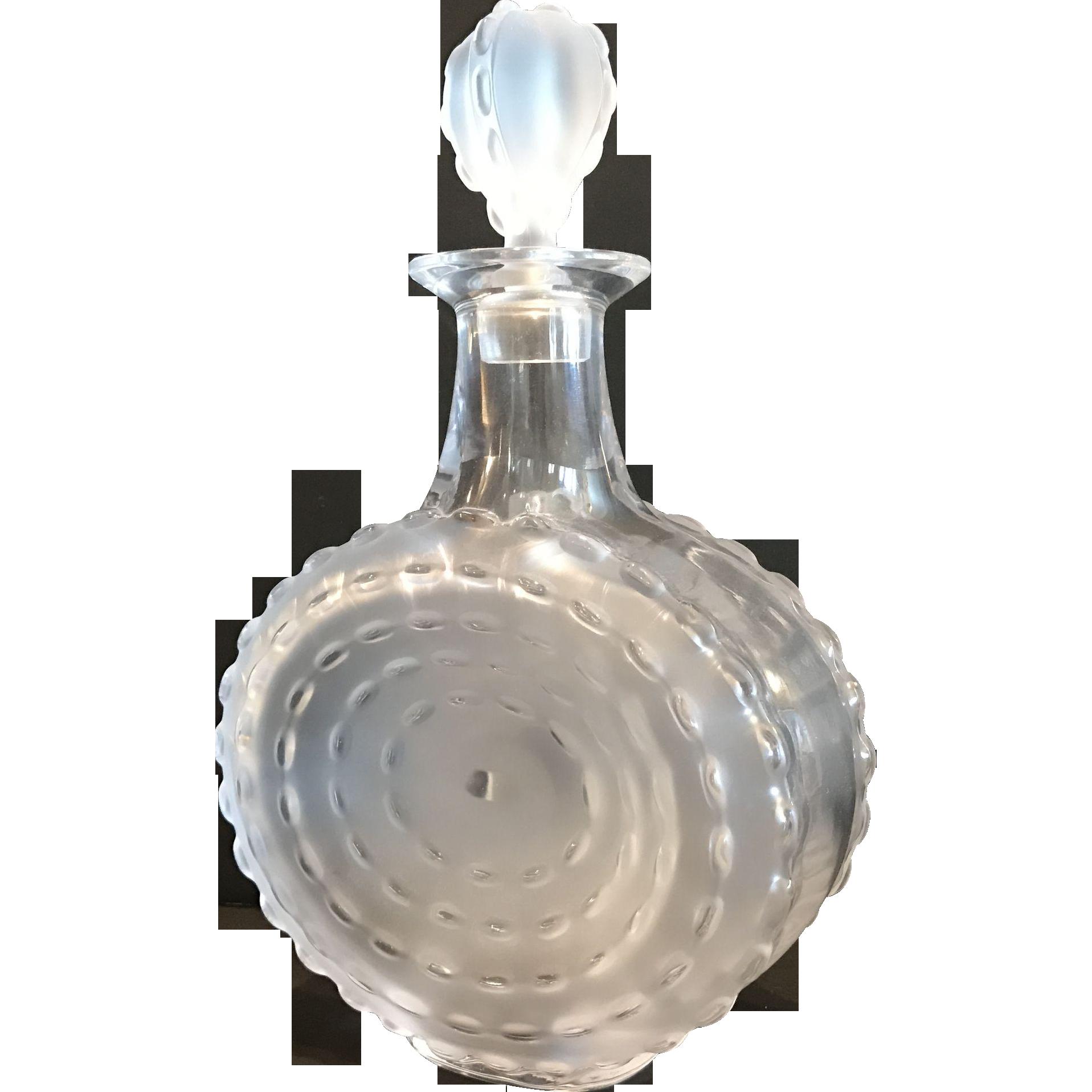 """Lalique Decanter, """"Parme Art"""" Pattern, Signed"""