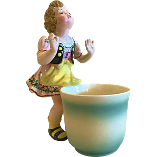 Vintage Austrian Keramos-Dakon Figure of a Little Girl and Large Cup, CA.1930-40's