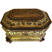 Chinese Export Tea Caddy/Chest, Lacquered & Gilded, CA.1820-40