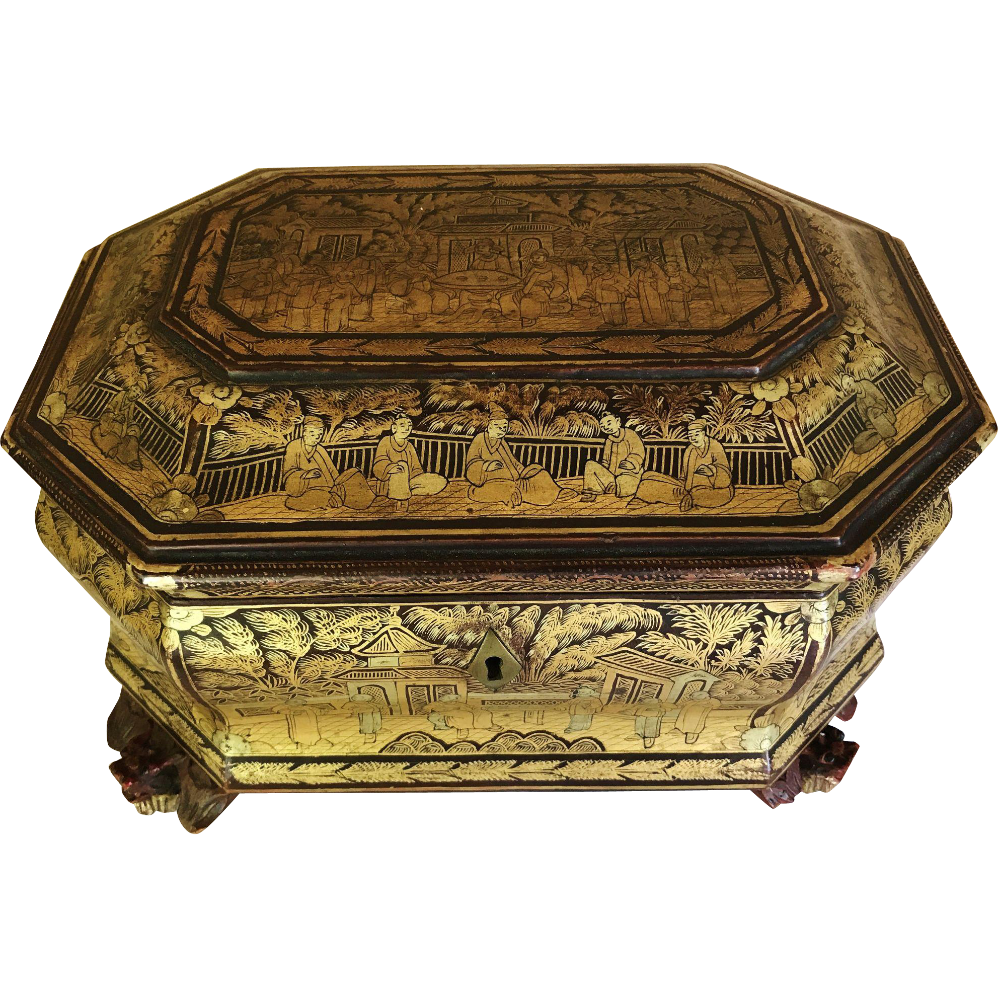 chinese export tea caddy chest lacquered gilded from collectorsdelights on ruby lane. Black Bedroom Furniture Sets. Home Design Ideas