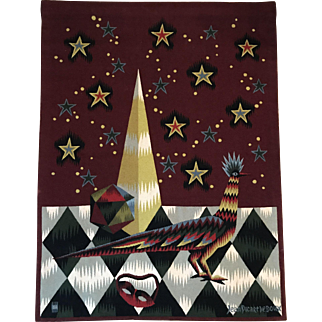 Woven Tapestry- Jean Picart Le Doux, Mid Century Moderne.Oiseau Carnaval, CA.1960's