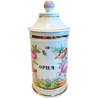 "Antique Pharmacy Jar for ""Opium"", French 19th C."
