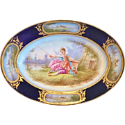 Sevres Porcelain Oval Cabinet Plate, Hand Painted, Dated 1844