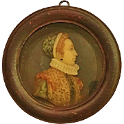 Miniature Portrait -Caterina De'Medici, Carved Wax, 19th Century