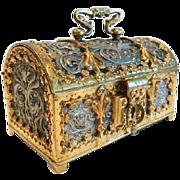 Antique Treasure Chest, Dore' and Silvered Bronze, 19th Century