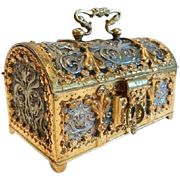 Antique Treasure Chest, Dore' and Silvered Bronze, 19th Century