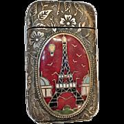 Rare Antique Match Safe from 1889 Paris Exposition Universelle, Eiffel Tower Plaque