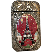 Rare Antique Match Safe from 1889 Paris Exposition Universelle, Eiffel Tower Plaque